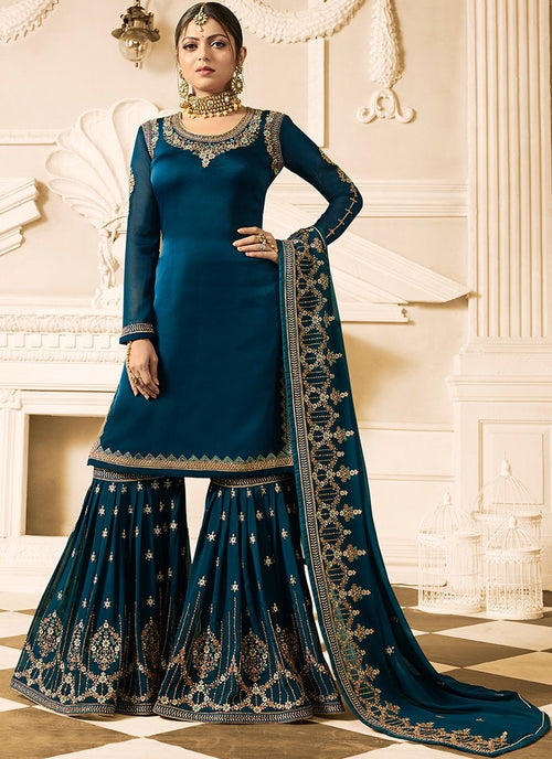 Peacock Blue Embroidered Designer Gharara Palazzo Suit