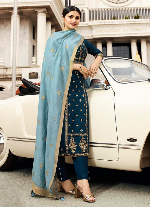 Peacock Blue Embroidered Pakistani Pant Suit