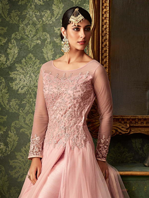 Pink All Front Slit Embroidered Anarkali Pant Suit