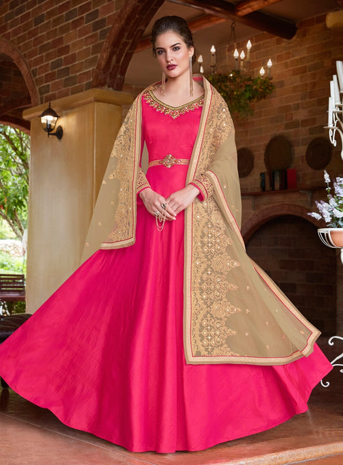Pink And Beige Embroidered Flared Anarkali Suit