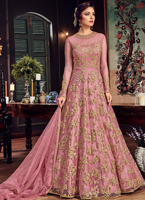 Pink Princess With All Gold Embroidered Flared Anarkali Suit