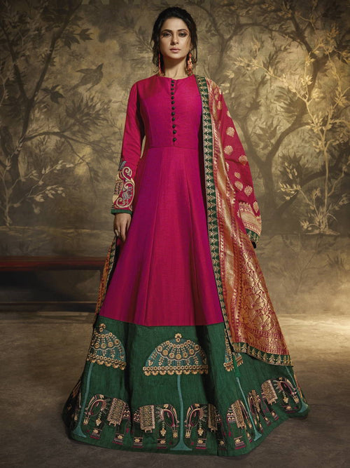 Pink And Green Ethnic Embroidered Anarkali Suit