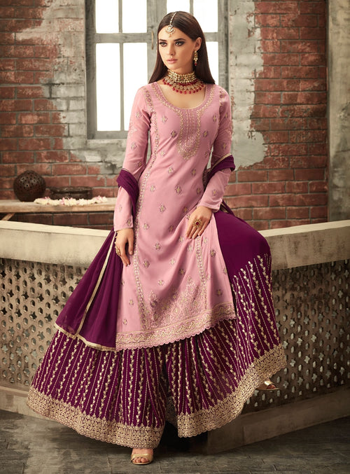 Pink And Purple Traditional Embroidered Palazzo Suit