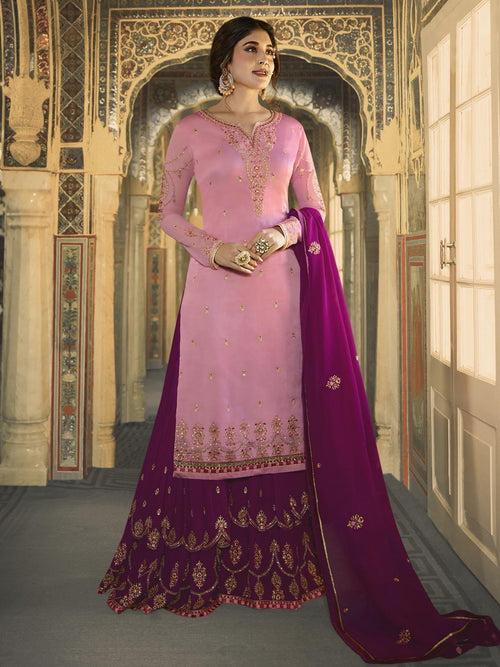 Pink And Purple Ethnic Embroidered Sharara Suit