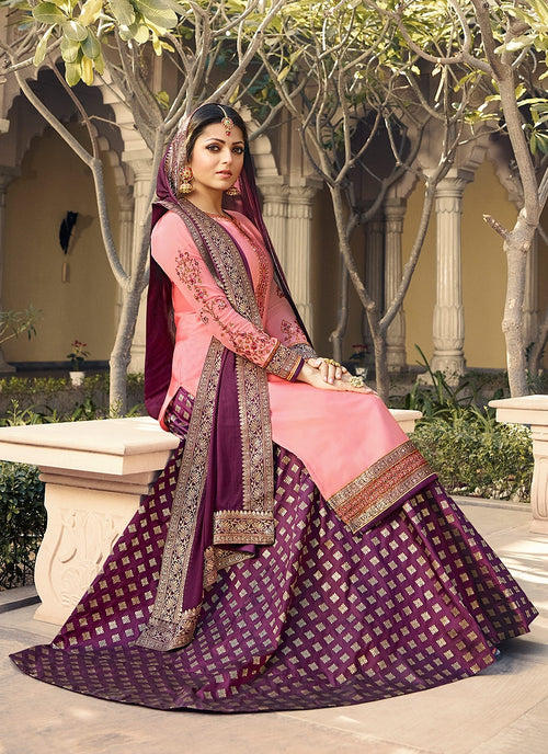Pink And Purple Embroidered Lehenga Kurti Set