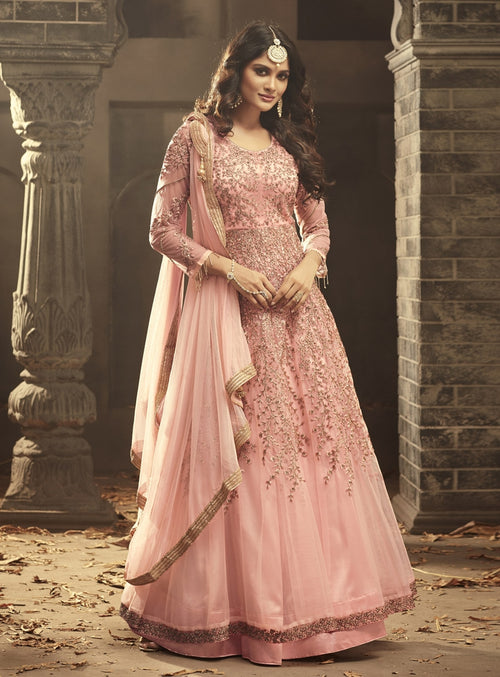 Pink Blush Gown Style Anarkali Suit