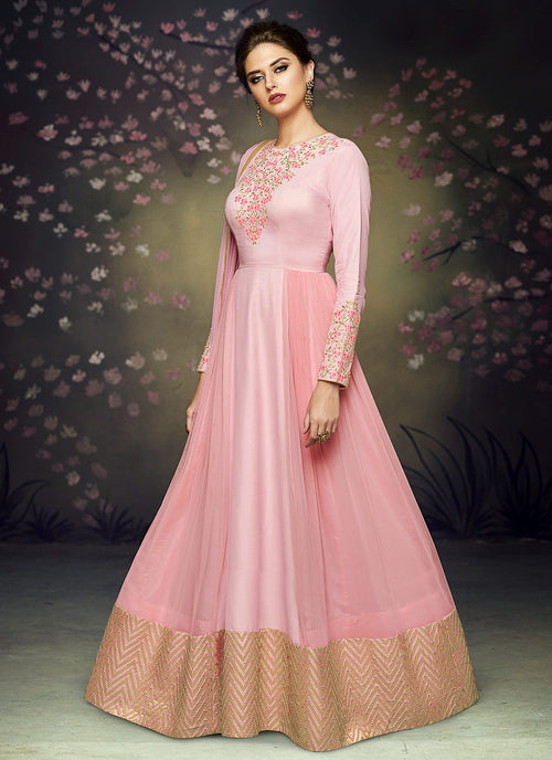 Pink Blush Embroidered Floor Length Anarkali Suit