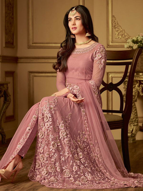 Pink Blush Straight Cut Embroidered Anarkali Suit