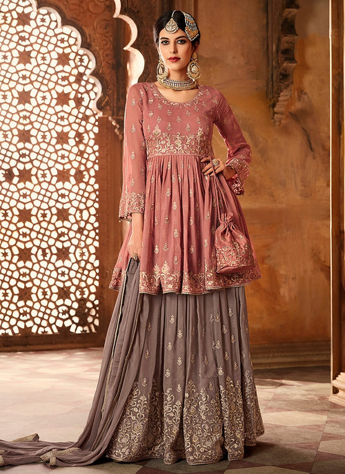 Pink Blush With Mauve Embroidered Peplum Style Gharara Suit