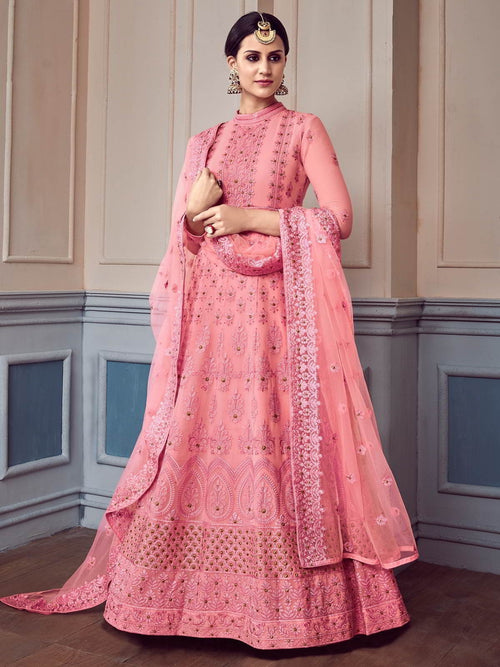 Pink Glam Chikankari Embroidered Anarkali Suit