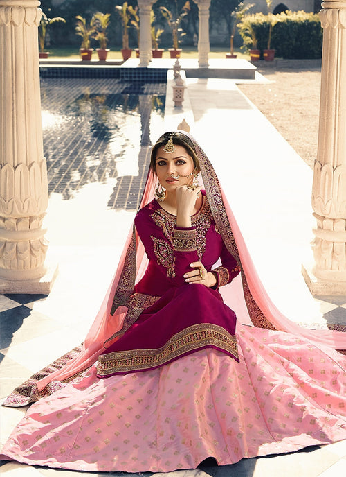 Pink Dual Tone Embroidered Lehenga Kurti Set