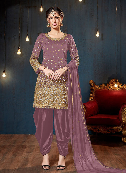 Pink Embroidered Traditional Patiala Suit