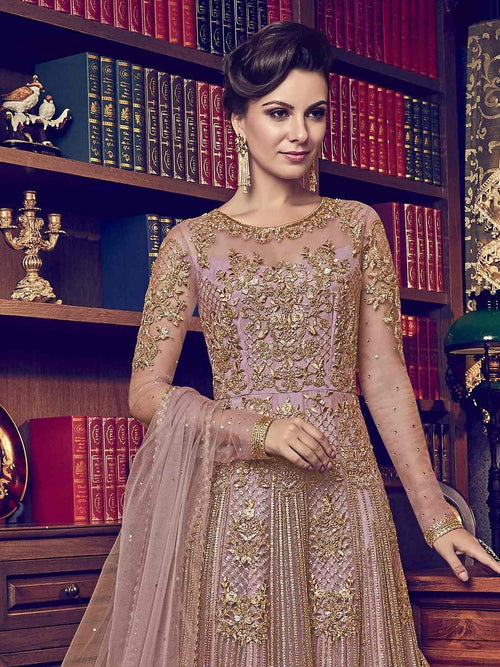 Pink Embroidered Designer Bridal Anarkali Suit
