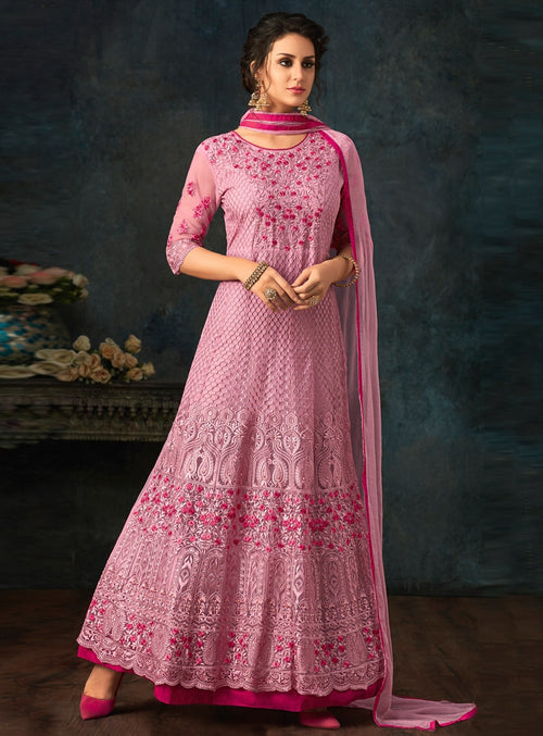 Pink Overall Floral Embroidered Flared Anarkali Suit