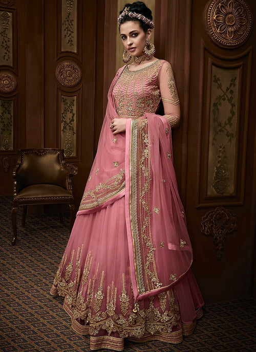 Pink Golden Embroidered Layered Anarkali Suit