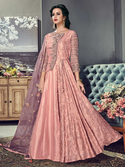 Pink Hues Ethnic Embroidered Silk Anarkali Suit