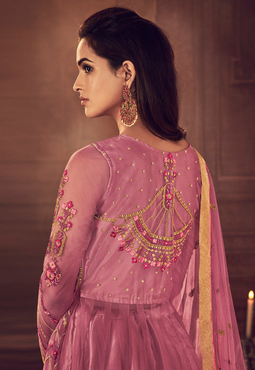 Pink Overall Traditional Embroidered Anarkali Suit