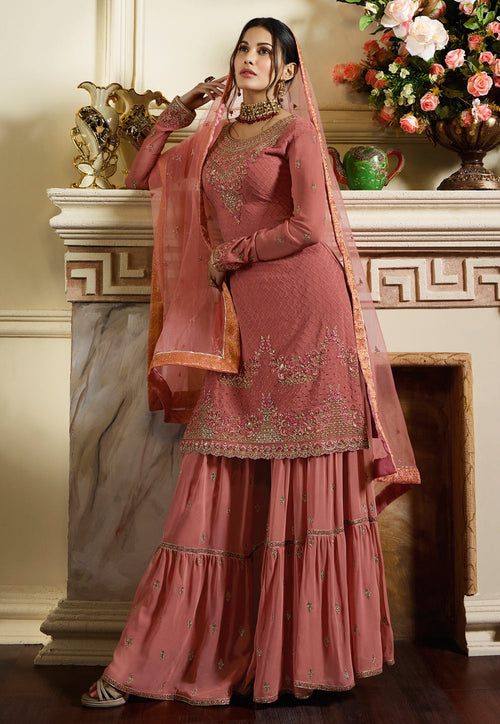 Pink Overall Traditional Embroidered Gharara Suit