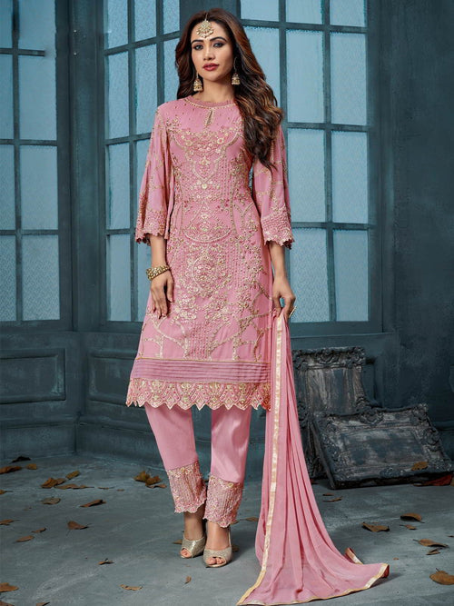 Pink Overall Designer Embroidered Pant Suit