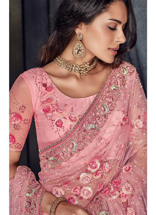 Pink Overall Floral Embroidered Designer Saree