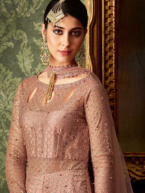 Pink Rose Gold Embroidered Anarkali Indo Western Suit