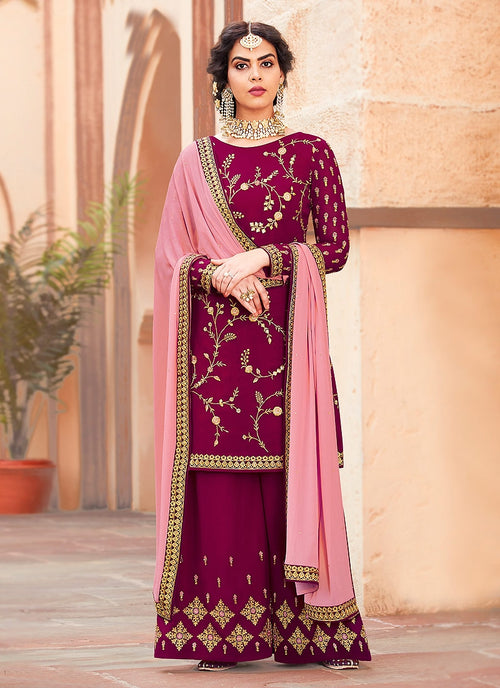 Pink Two Tone Embroidered Palazzo Suit