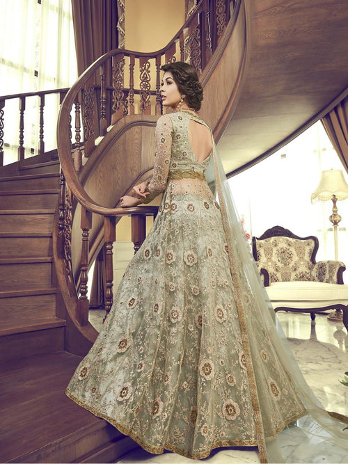 Pista Green Embroidered Wedding Anarkali Lehenga/Pant Suit
