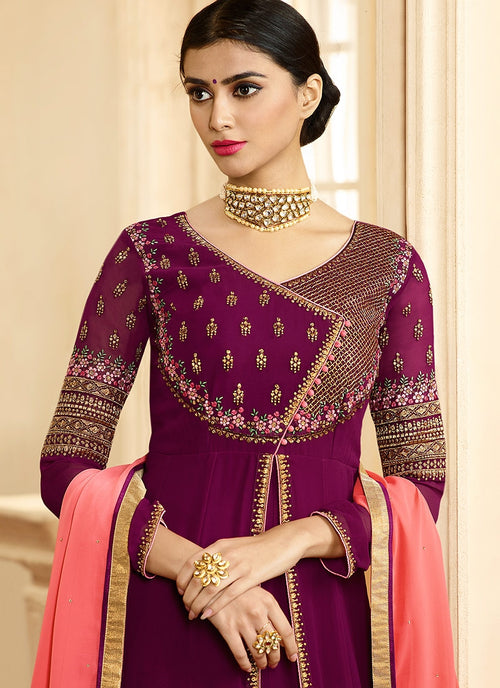 Plum And Pink Ethnic Slit Style Embroidered Anarkali Suit