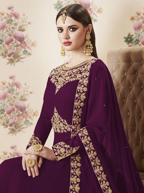 Plum Embroidered Georgette Anarkali Suit