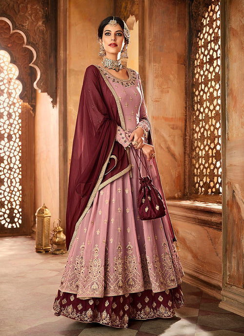 Plum Purple Dual Tone Embroidered Flared Anarkali Lehenga Suit