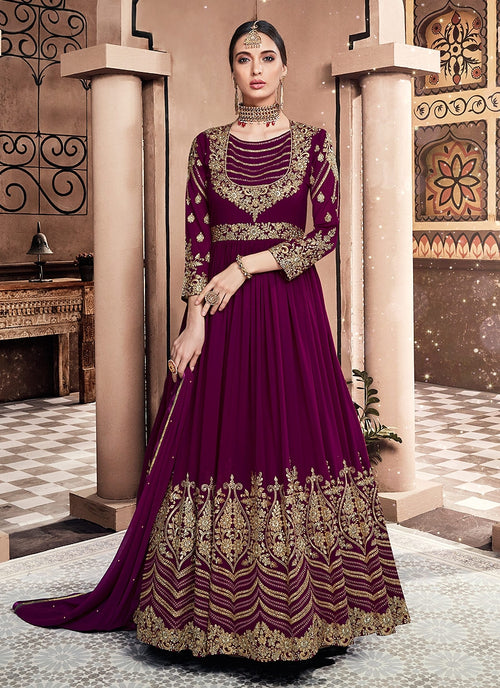 Plum Purple Multi Embroidered Flared Anarkali Suit
