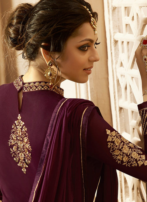 Plum With Gold Ghera Detail Embroidered Anarkali Pant Suit
