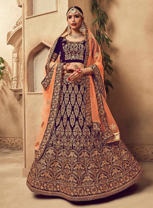 Purple And Orange Velvet Embroidered Lehenga Choli