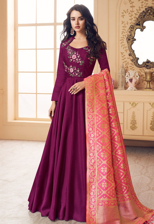 Purple And Peach Embroidered Satin Anarkali Suit