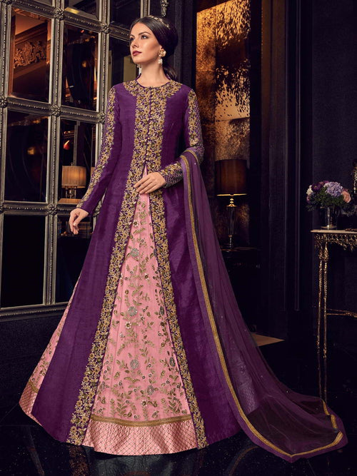 Purple And Pink Traditional Embroidered Anarkali Suit