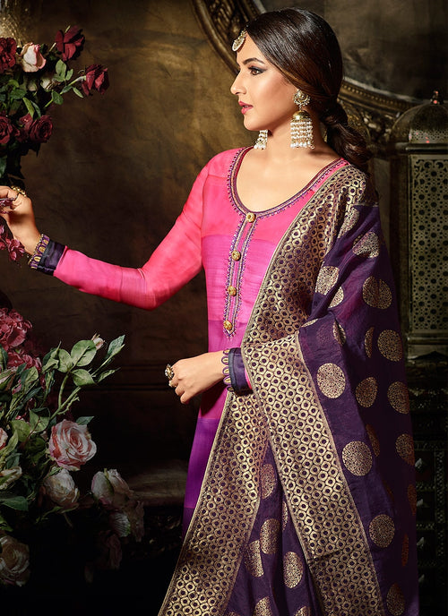Purple And Pink Shade Embellished Satin Palazzo Suit