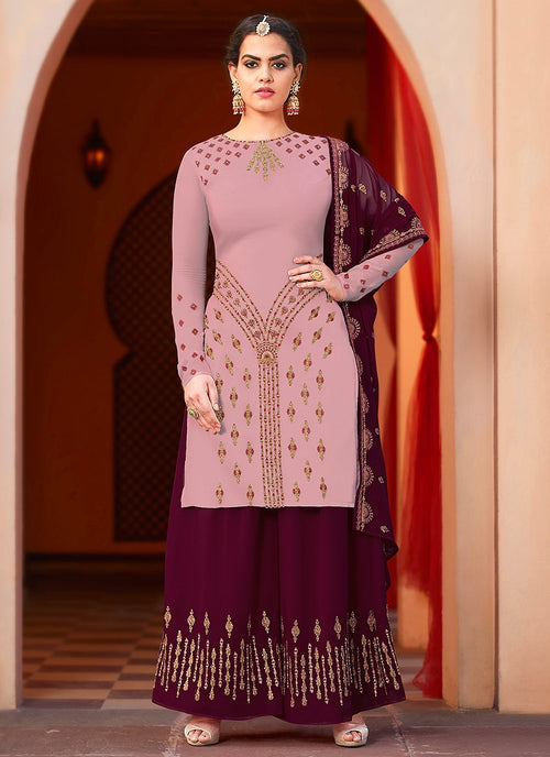 Purple And Wine Embroidered Palazzo Suit