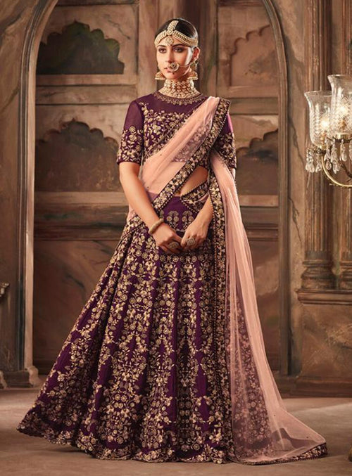 Burgundy And Peach Embroidered Designer Lehenga Choli