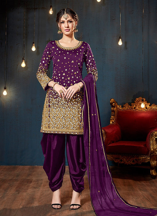 Purple Embroidered Traditional Patiala Suit