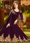 Purple Golden Embroidered Georgette Anarkali Suit