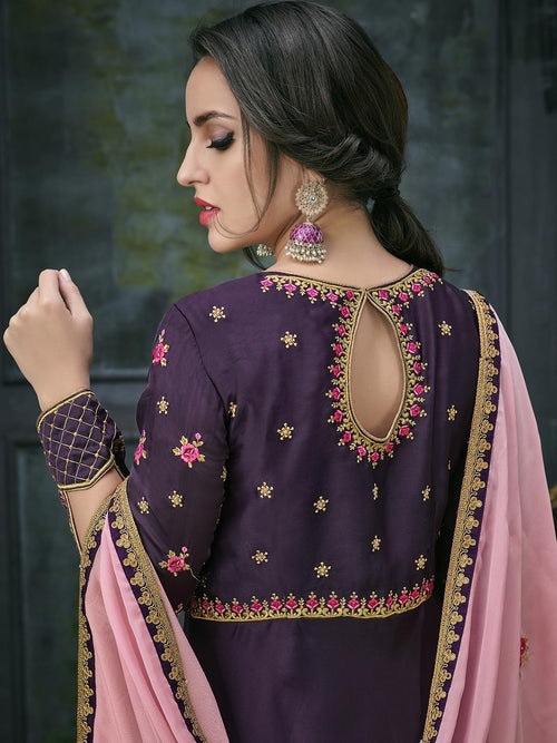 Purple Pink Ethnic Embroidered Anarkali Suit