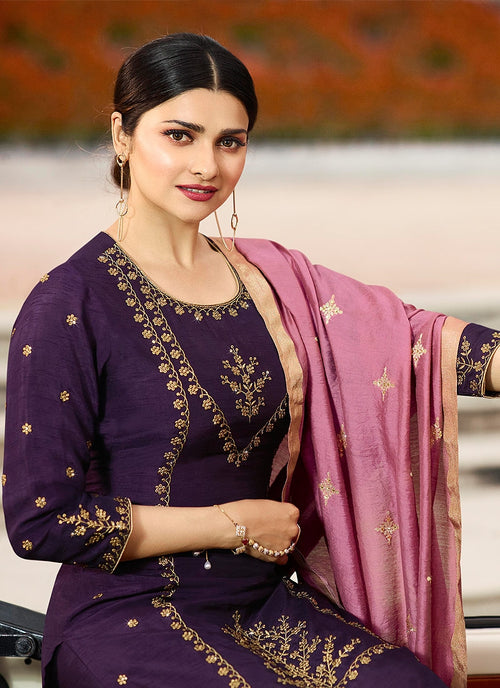 Purple Traditional Embroidered Pakistani Pant Suit
