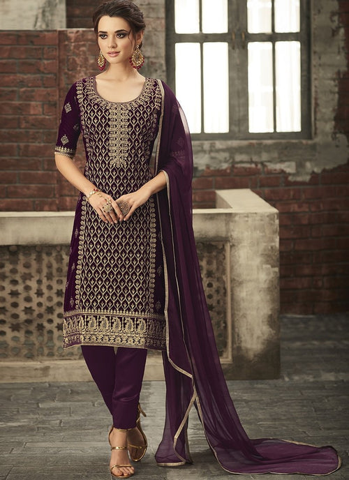 Purple With Gold Ethnic Embroidered Pant Suit