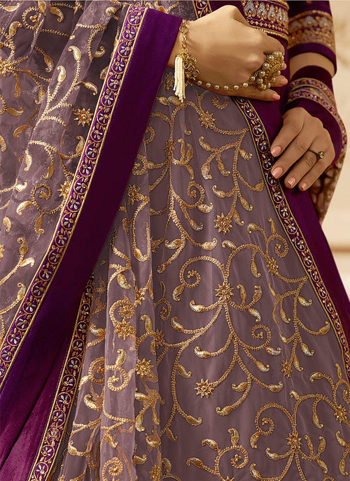 Purple With Gold Ethnic Embroidered Flared Anarkali Suit