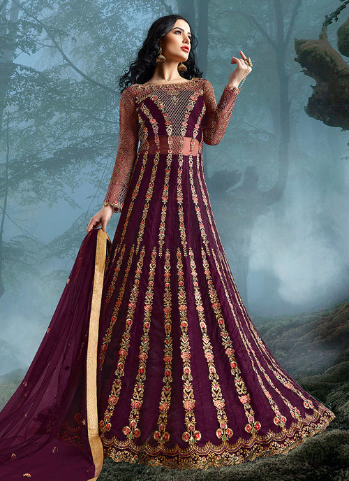 Indian Clothes - Magenta Wedding Lehenga Style Anarkali Suit