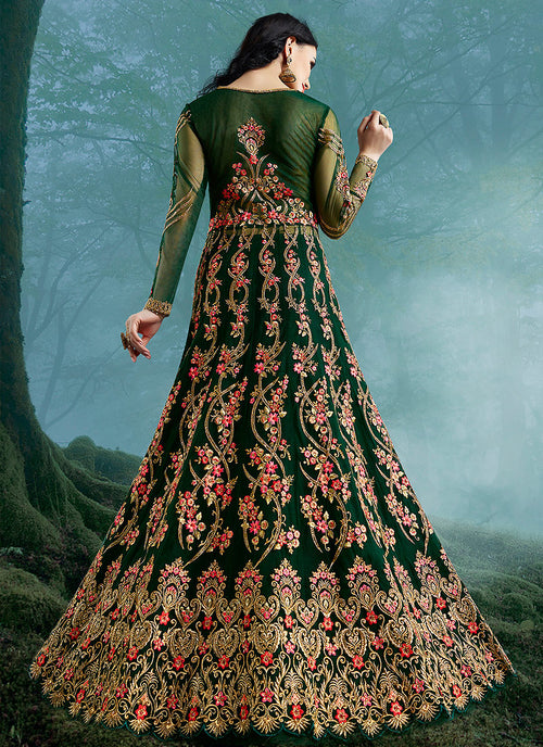 Green Wedding Lehenga Style Anarkali Suit