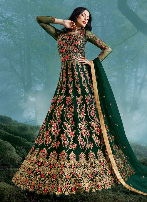 Indian Clothes - Green Wedding Lehenga Style Anarkali Suit