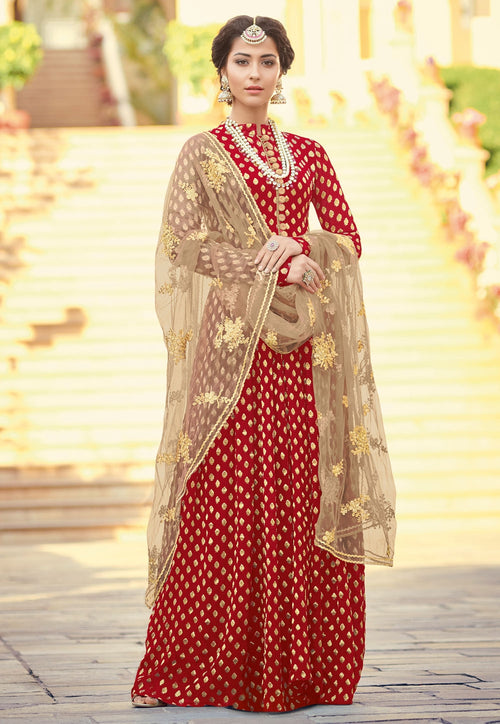 Red And Beige Traditionally Embellished Anarkali Suit