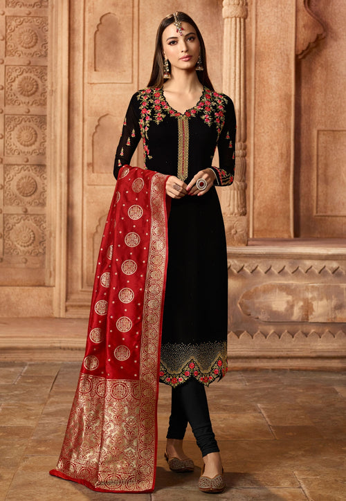 Black And Red Embroidered Satin Churidar Suit