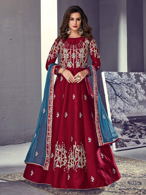 Red And Blue Ethnic Embroidered Silk Anarkali Suit